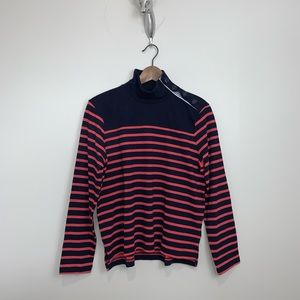 J. Crew Striped Button Turtleneck